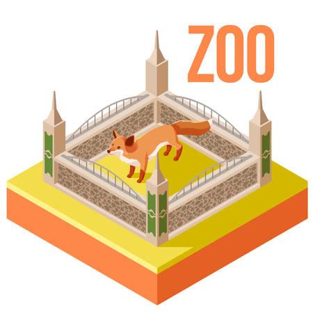 Vector image of the Zoo Fox isometric icon Illustration