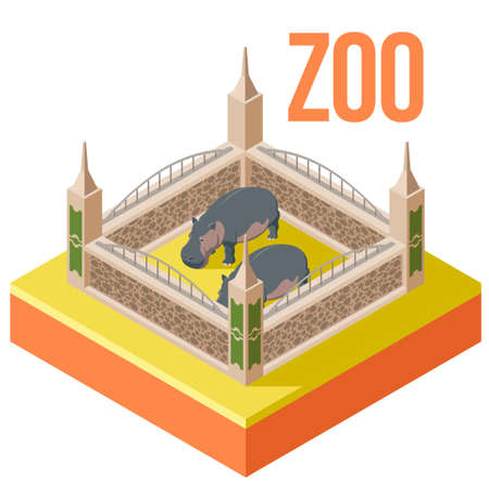 Vector image of the Zoo hippos isometric icon