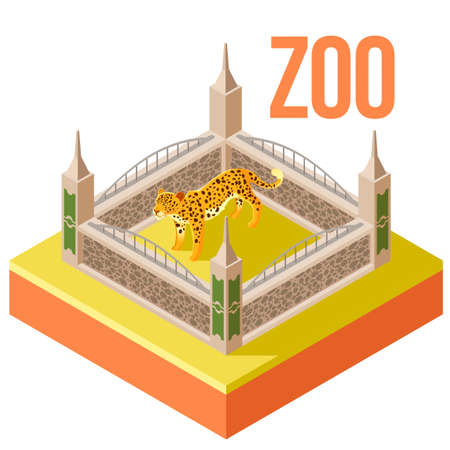 cheetah cub: Vector image of the Zoo Leopard isometric icon