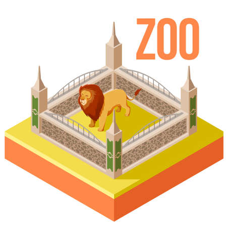 Vector image of the Zoo Lion isometric icon