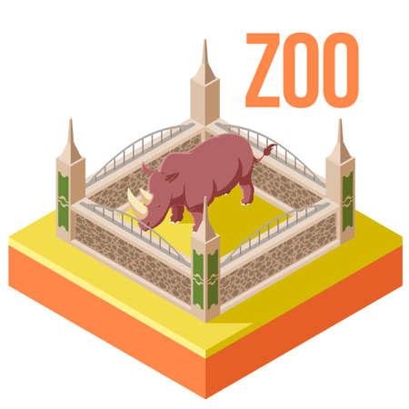Vector image of the Zoo Rhinoceros isometric icon