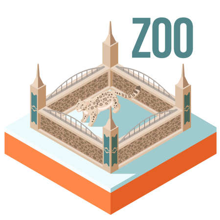 Vector image of the Zoo Snow Leopard isometric icon Illustration