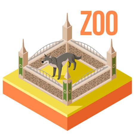 oso perezoso: Vector de la imagen del icono isométrico Zoo Wolf