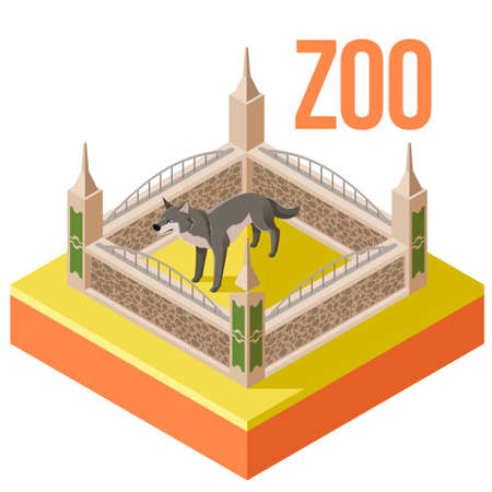 sloth: Vector image of the Zoo Wolf isometric icon