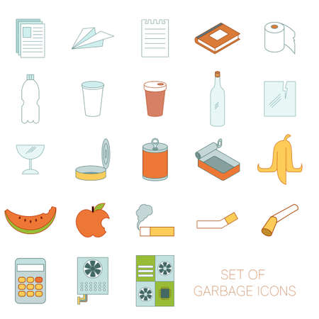 Vector image of the Set of colour garbage sign icons