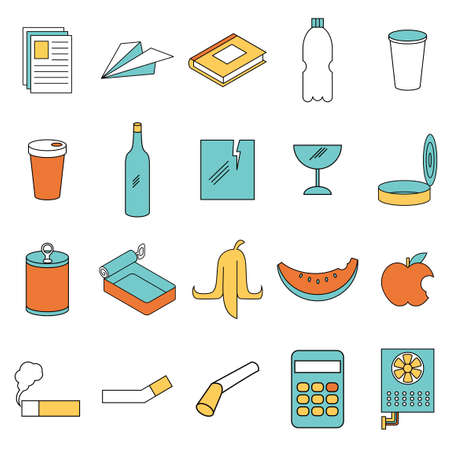 Vector image of the Set of colour line garbage sign icons