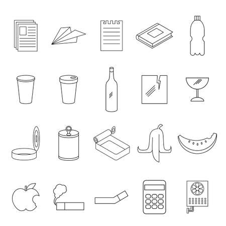 Vector image of the Set of line garbage signs