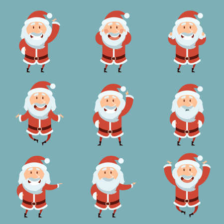 Vector image of the Set of Santa Claus Flat icons