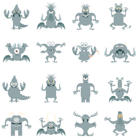 Vector image of the set of monster flat icons