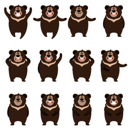 spectacled: Vector image of the Set of flat moon bear icons Illustration