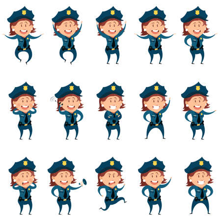 duty belt: Vector image of the Set of police women flat icons