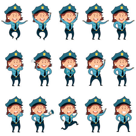 guard duty: Vector image of the Set of police women flat icons