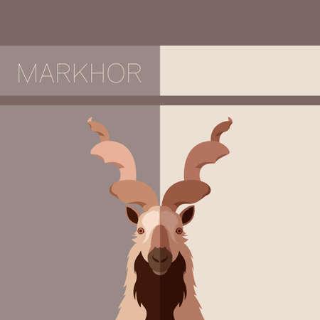 capra: Vector image of the Markhor flat postcard