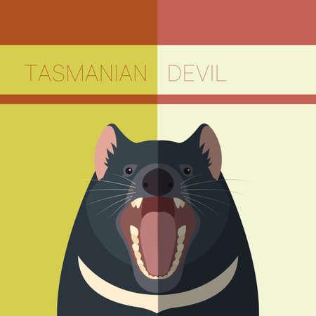 tasmanian: Vector image of the Tasmanian Devil flat postcard