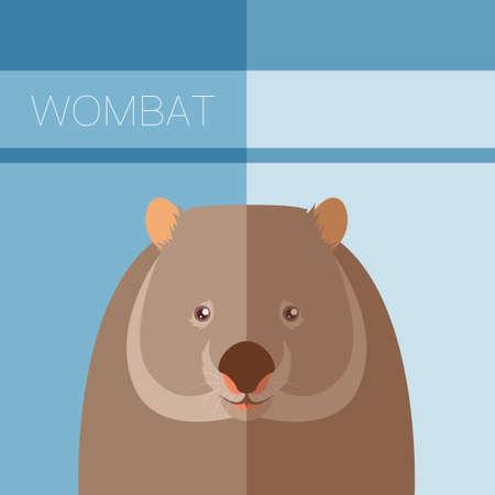 wombat: Vector de imagen de la postal plana Wombat Vectores