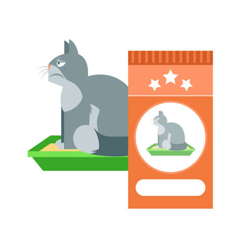 Flat Vector image of the Angry cat on the toilet as commercial