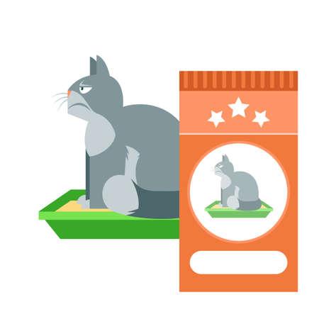 plastico pet: Vector de imagen plana del Gato enojado en el inodoro como comerciales