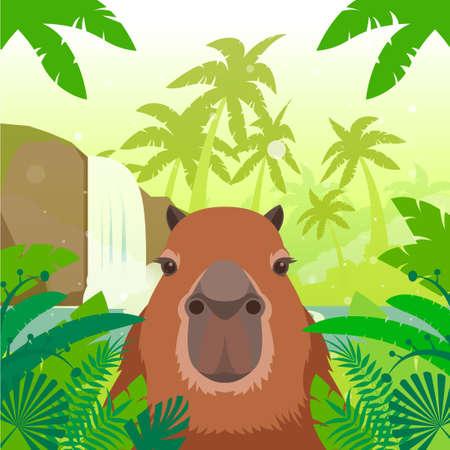 biggest animal: Flat Vector image of the Kapibara on the Jungle Background Illustration