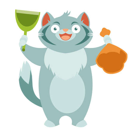 Flaches Vektorbild der Katze und seiner Toilettenausrüstung Vektorgrafik