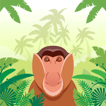 threatened: Flat Vector image of the Long-nosed monkey on the Jungle Background