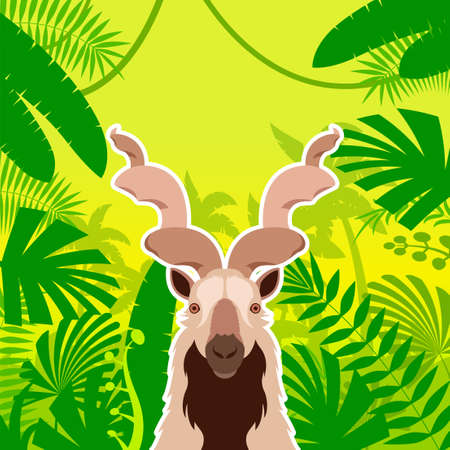 v Vector image of the Markhor on the Jungle Background Illustration