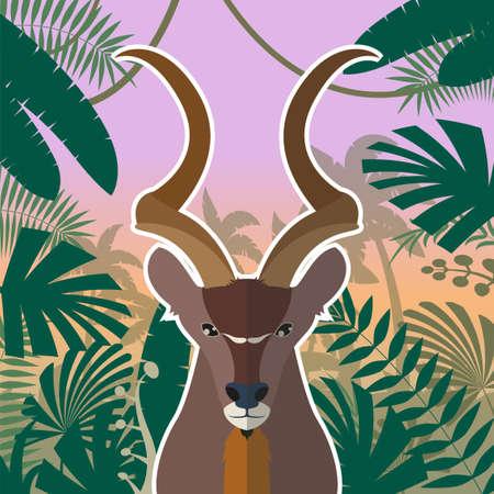 Flat Vector image of the Koodoo on the Jungle Background Illustration