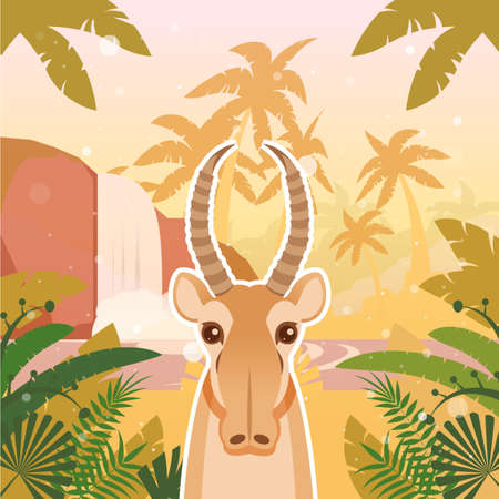 threatened: Flat Vector image of the Saiga on the Jungle Background