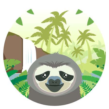 oso perezoso: Vector de la imagen plana de la pereza en el fondo de la selva Vectores