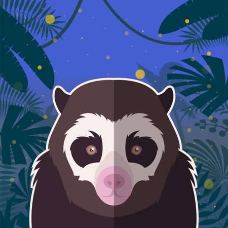 spectacled: Flat Vector image of the Spectacled Bear on the Jungle Background Illustration