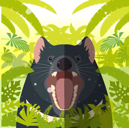 Flat Vector image of the Tasmanian devil on the Jungle Background Vector Illustration