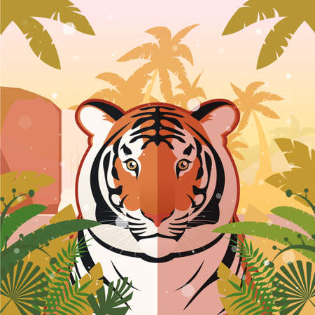 Flat Vector image of the Tiger on the Jungle Background