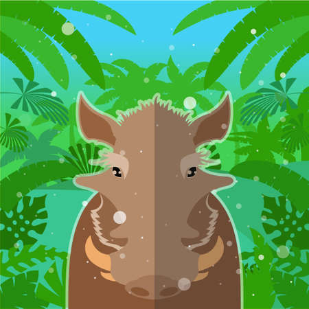 Flat Vector image of the Wart-hog on the Jungle Background Illustration
