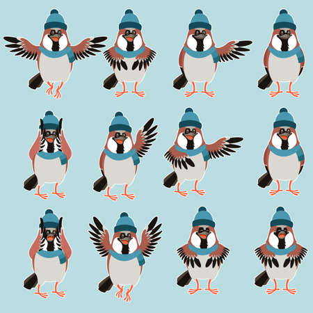 Vector image of the Sparrow with hats flat set Illustration