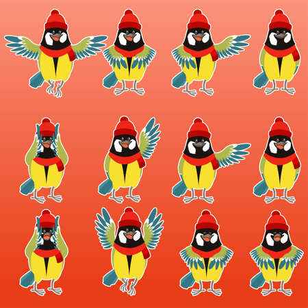parus: Vector image of the Flat titmouse with scarfs and hats set Illustration
