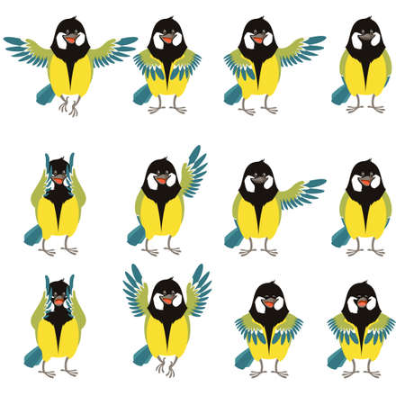 parus: Vector image of the Set of flat icons of titmouse