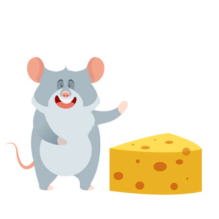 Vector image of the flat Grey Mouse and a Piece of Cheese Illustration