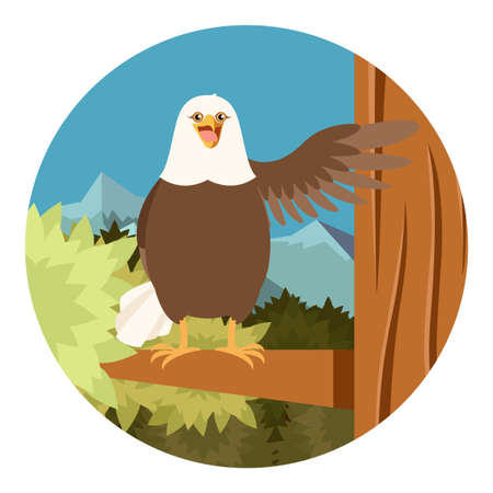 Vector image of the Happy Eagle on the Tree flat Background