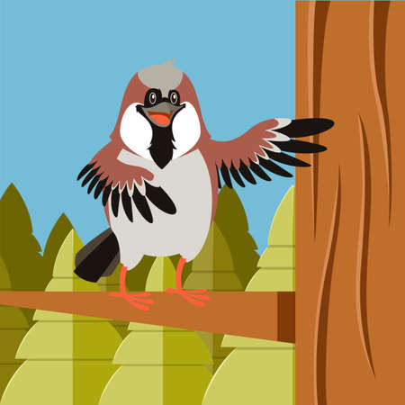 Vector image of the Happy Sparrow on the Tree flat background