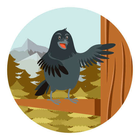 corvus: Vector image of the Happy Raven on the Tree winter flat background Illustration