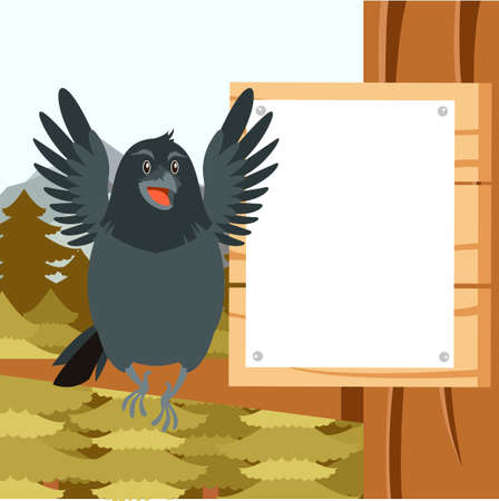 Vector image of the Happy Raven on the Tree winter flat background Illustration