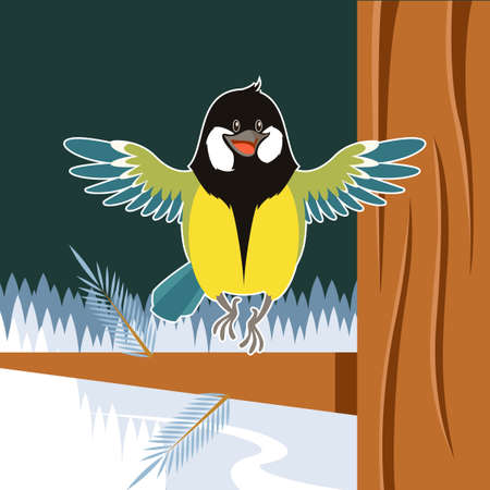 parus: Vector image of the Happy Titmouse on the Tree winter flat background Illustration