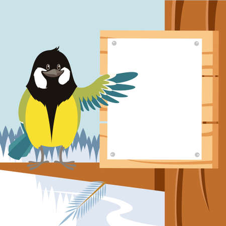 Vector image of the Happy Titmouse on the Tree winter flat background Illustration