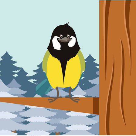 titmouse: Vector image of the Happy Titmouse on the Tree winter flat background Illustration