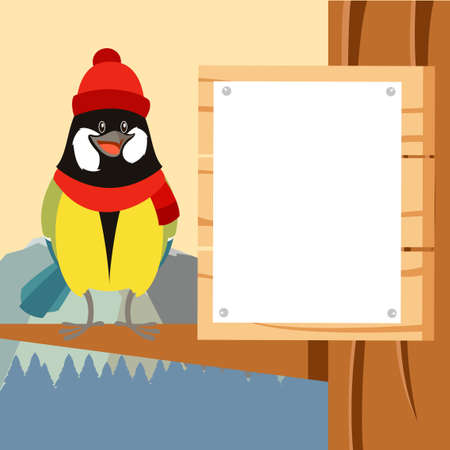 tomtit: Vector image of the Happy Titmouse with Hat on the Tree winter flat background