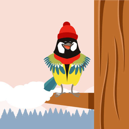 titmouse: Vector image of the Happy Titmouse with Hat on the Tree winter flat background
