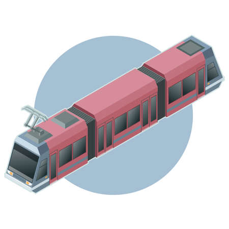 Vector image of the isometric light train on circle background Illustration