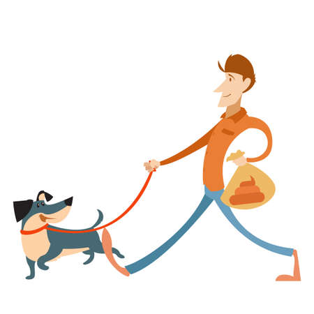 Vector image of the Man with its dog and a bag for gogs poop Illustration
