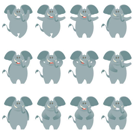 tusks: Vector image of the Elephant flat icons set