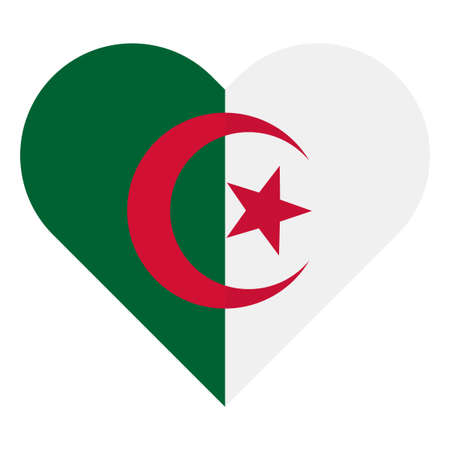 Algeria flat heart flag Illustration