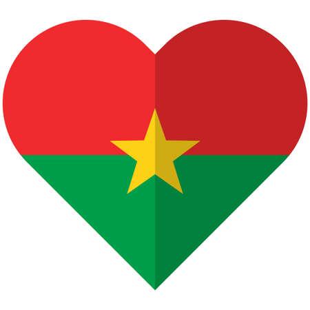 Burkina Faso flat heart flag Illustration